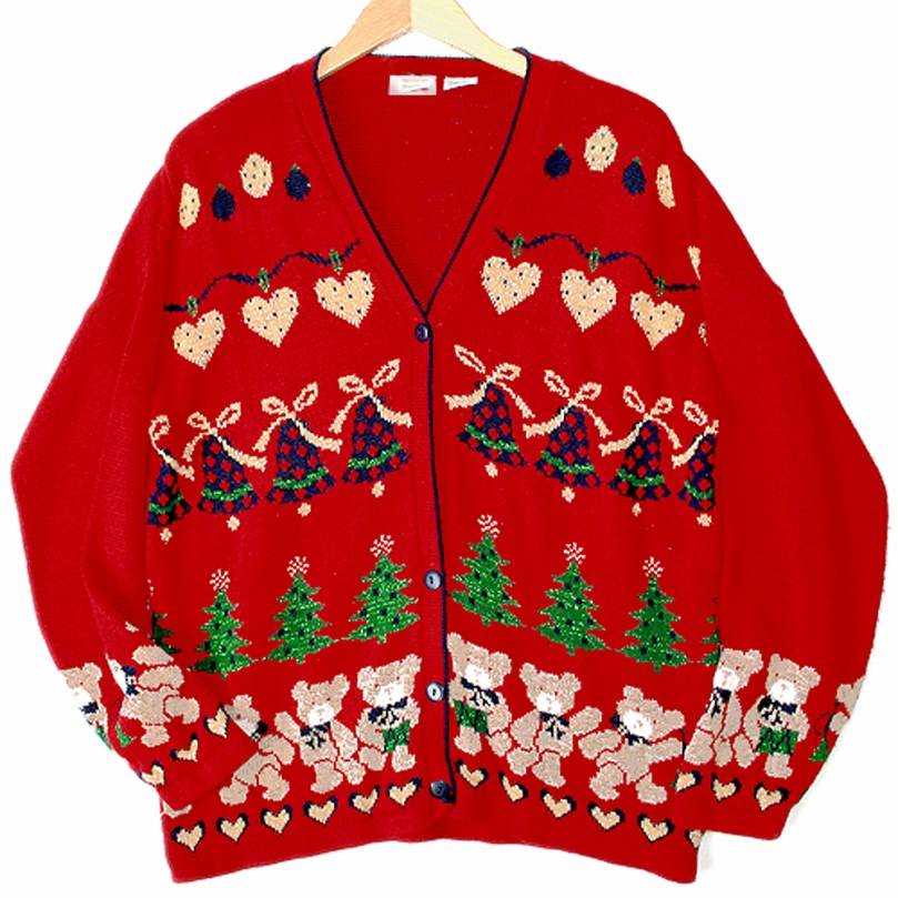Vintage-80s-Oversized-Sparkle-Teddy-Bear-Hearts-Tacky-Acrylic-Ugly-Christmas-Sweater-LargeXL-LXL